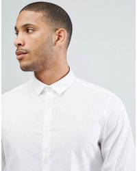 ASOS - Design Slim Shirt With Stretch In White for Men - Lyst