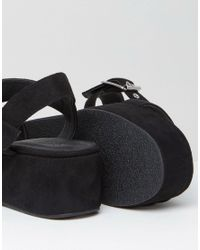 ASOS DESIGN - Black Toucan Wedge Sandals - Lyst