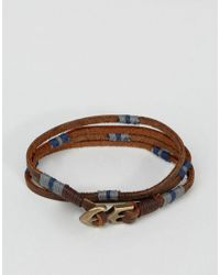 ASOS | Brown Double Wrap Leather Bracelet With Anchor for Men | Lyst
