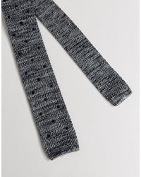 Noak - Gray Knitted Square Tie In Spot for Men - Lyst