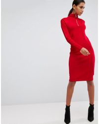 ASOS - Red Knitted Dress With Zip Up Neck - Lyst