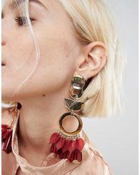ASOS - Metallic Statement Petal And Shape Drop Earrings - Lyst