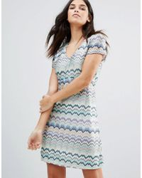 Traffic People | Blue Striped Short Sleeve Midi Dress | Lyst