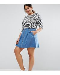 3a67e8237215 ASOS Denim Button Front Mini Skater Skirt In Mid Wash Blue in Blue ...