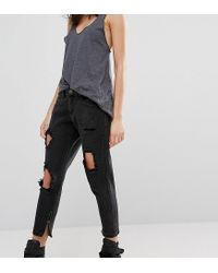 Liquor N Poker - Black Liquor & Poker Petite Skinny Jeans With Extreme Distressing Ripped Knees - Lyst
