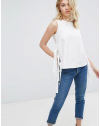 Mango - White Tie Side Detail Tunic Top - Lyst