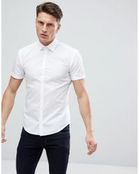 HUGO - Short Sleeve Poplin Shirt In White for Men - Lyst