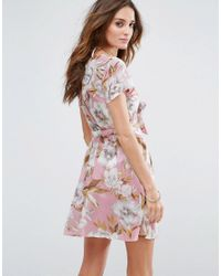 ASOS - Pink Tie Front Mini Beach Dress In Floral Print - Lyst