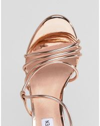 Steve Madden - Metallic Smith Rose Gold Strappy Sandals - Lyst