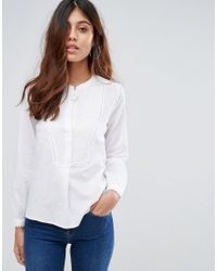 Mango | White Pleated Bib Shirt | Lyst
