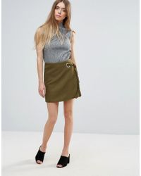 First & I | Green Mini Wrap Over Skirt | Lyst