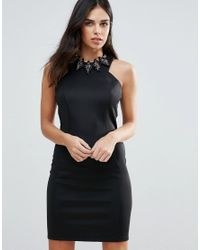 Zibi London - Black Bodycon Dress With Removable Necklace - Lyst