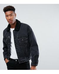 0cf93c65b01b ASOS - Tall Oversized Denim Jacket With Borg Collar In Washed Black for Men  - Lyst