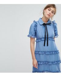 Sister Jane - Blue Tea Dress With Ruffles - Lyst