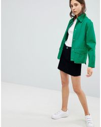 ASOS DESIGN - Green Asos Washed Cotton Jacket - Lyst