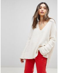 Free People - White Take Over Me V-neck Jumper - Lyst