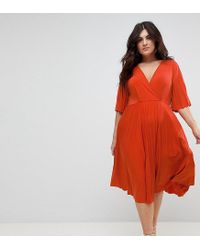 ASOS - Orange Pleated Kimono Dress In Slinky - Lyst