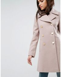 ASOS - Pink Swing Coat With Military Style Buttons - Lyst