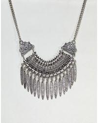ASOS - Metallic Statement Textured Leaf Charm Necklace - Lyst