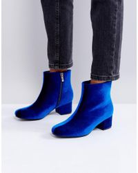 Truffle Collection - Blue Mid Heel Boot - Lyst