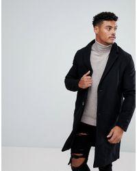 Pull&Bear - Wool Overcoat In Black for Men - Lyst