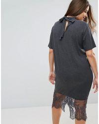 ASOS - Gray Lace Hem Midi Dress With Tie Neck - Lyst