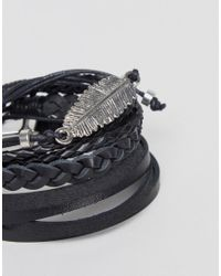 ASOS - Black Leather And Plaited Bracelet Pack With Feather for Men - Lyst