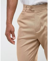 ASOS - Natural Tapered Smart Pants In Stone for Men - Lyst