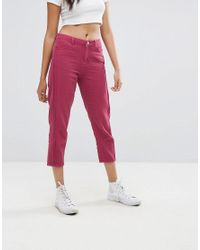0f8854ed0cf4 Lyst - Boohoo Cropped Jeans in Pink