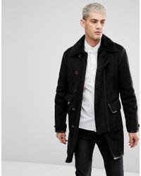Pretty Green - Bassett Coat In Black for Men - Lyst