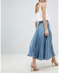 ASOS - Blue Satin Midi Skirt With Self Belt - Lyst