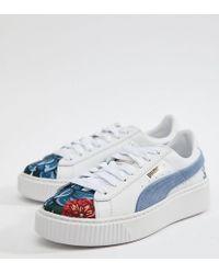 d1e7aab1d6aa Chaussures en daim brodes semelle plateforme PUMA en coloris Blanc ...