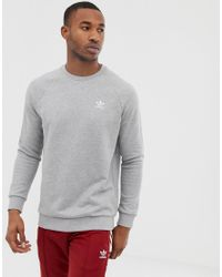 7cc10a55230 Lyst - adidas Originals Sweatshirt With Embroidered Small Logo Gray ...