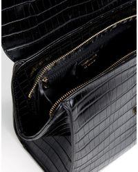 Dune - Black Sammy Croc Effect Crossbody Bag - Lyst