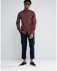 Noak - Brown Skinny Shirt In Melange for Men - Lyst