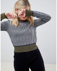 ASOS - Multicolor Snake Effect Crop Sweater With Contrast Tipping - Lyst