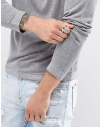 Icon Brand - Metallic Premium Feather Ring In Antique Silver for Men - Lyst