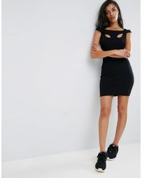 ASOS - Black Mini Strappy Bodycon Dress With Shoulder Detail In Rib - Lyst