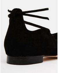 ASOS - Black Locket Lace Up Pointed Ballet Flats - Lyst