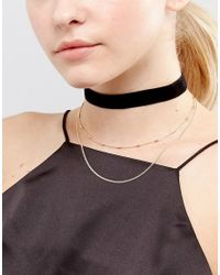 ASOS - Metallic Basic Velvet And Chain Multirow Choker Necklace - Lyst