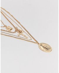 ASOS - Metallic Asos Design Curve Multirow Necklace With Vintage Style Icon And Cross Pendants In Gold - Lyst