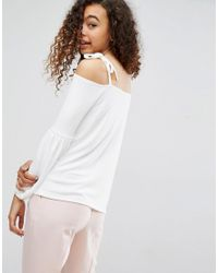 ASOS - White Top In Crepe With Off Shoulder And Pretty Bell Sleeve - Lyst
