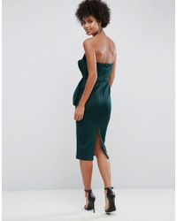 ASOS - Green Bandeau Fold Bow Front Scuba Midi Dress - Lyst