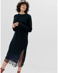 183bc34cbc2 Lost Ink Knitted Sweater Dress With Contast Lace Hem in Blue - Lyst