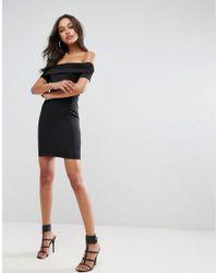 ASOS - Black Super Soft Deep Bardot Mini Bodycon Dress - Lyst