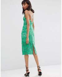 ASOS | Green Lace Hitchcock Midi Pencil Dress | Lyst