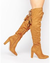 Missguided | Brown Heeled Over The Knee Boot With Lace Up Back | Lyst
