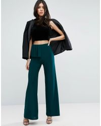 ASOS - Green Slinky Wide Leg Pants With Ruffle Detail - Lyst