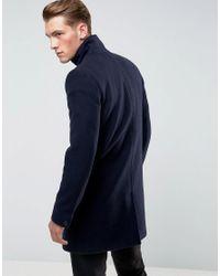 Only & Sons - Blue Funnel Neck Overcoat for Men - Lyst