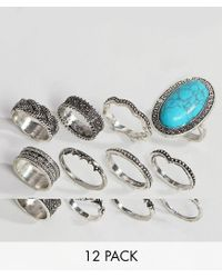 ASOS - Metallic Design Pack Of 12 Festival Engraved Burnished Stone Rings - Lyst